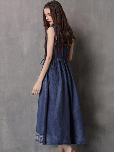 Stylish Sleeveless Drawstring Slim A-Line Denim Skater Dress