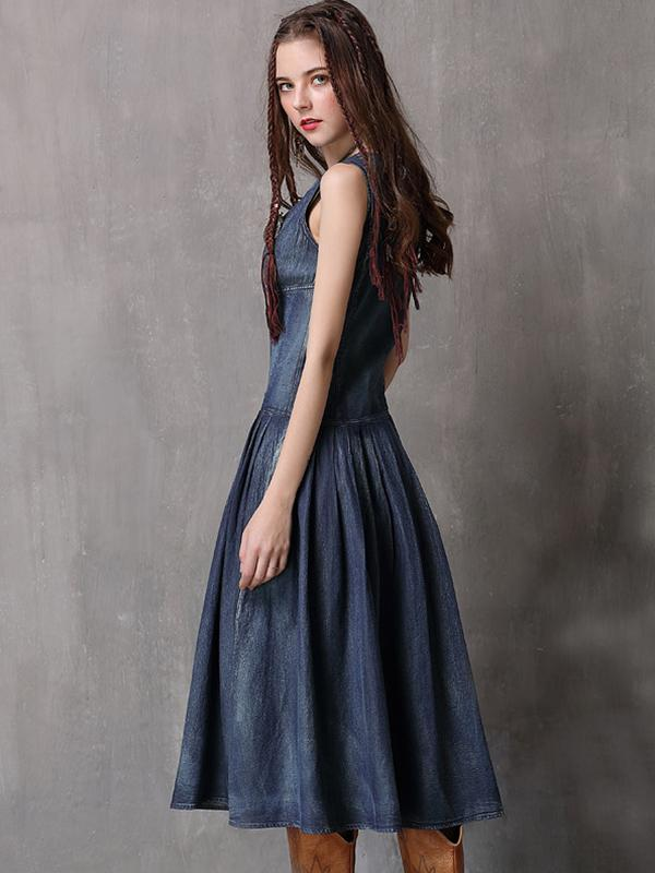 Chic Slim V-Neck Sleeveless Denim Skater Dress