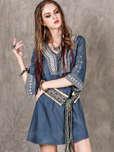 Ethnic Half Sleeve A-Line Embroidery Loose Denim Dress