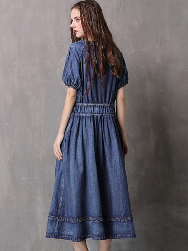 Denim Ethnic Drawstring Short Sleeve V-Neck Skater Dress