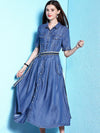 Fashion 3/4 Sleeve Turn Down Collar Patchwork Slim Skater Dress