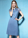 Casual Turn Down Collar Slim Hollow Out Fashion Denim Skater Dress