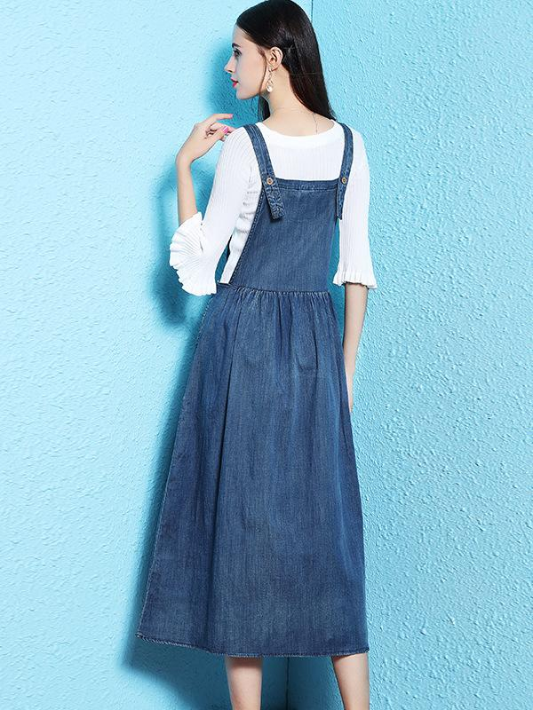 Chic Loose Denim Slim Pleated Skater Slip Dress