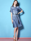 Single Pure Color Pockets Sashes 3/4 Sleeves Skater Dress
