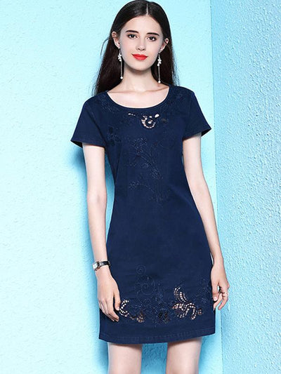 Casual Embroidery Hollow Out Blue Shift Plus Size Dress