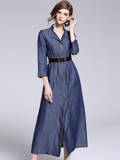 Elegant 3/4 Sleeve Stand Collar Belted Skater Dress
