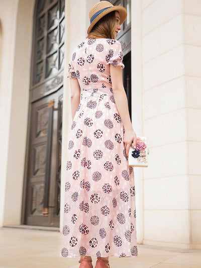 Elegant Puff Sleeve Slim Stand Collar Skater Maxi Dress