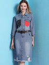 Fashion Patchwork Denim Belted Long Sleeve Shirt Dress
