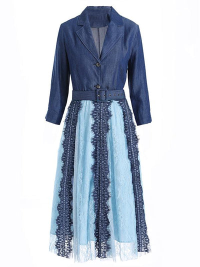 Elegant Mesh Lace Slim V-Neck Denim Skater Dress