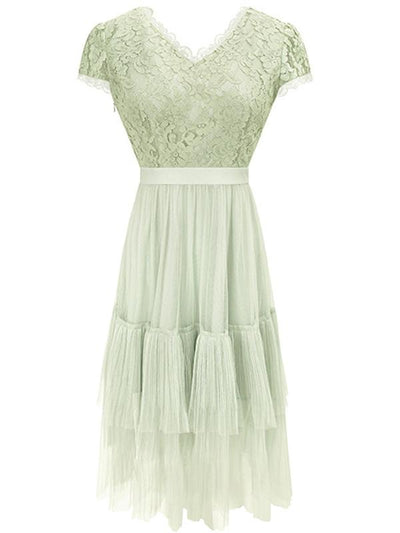 Stylish V-Neck Hollow-out Lace Cupcake Skater Dress