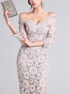 Elegant One Shoulder Lace 3/4 Sleeve Sexy Bodycon Casual Dresses