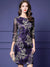 Vintage Slim Mesh 3/4 Sleeve O-Neck Embroidery Bodycon Dress
