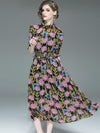Floral Pattern Stand Collar Tight Elastic Big Hem Maxi Dress