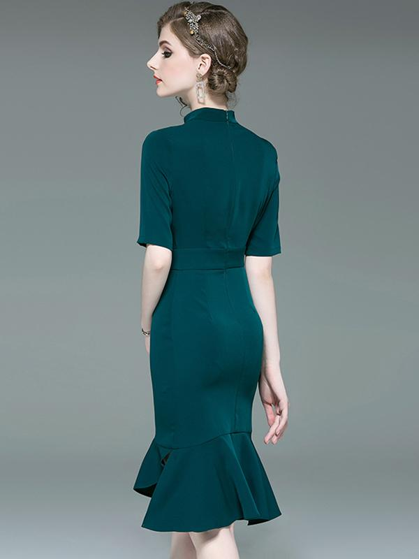 Chic Green V-Neck Tight Half Sleeve Bodycon Mermaid Dress