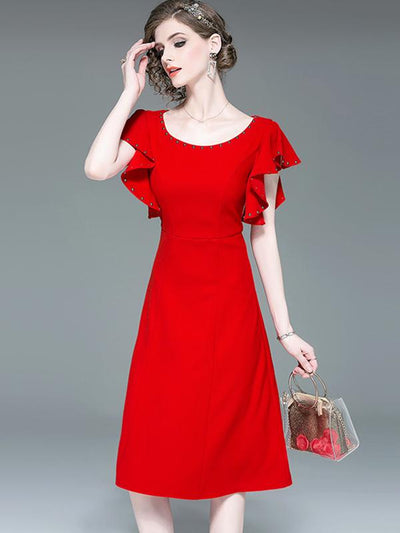 Fashion Red Ruffles Sleeve Tight Skater Bodycon Dress