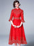 Embroidery Red Cheongsam Slim Half Sleeve A-line Dress
