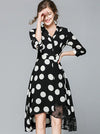 Vintage Slim Turn Down Collar Asymmetrical Skater Casual Dresses