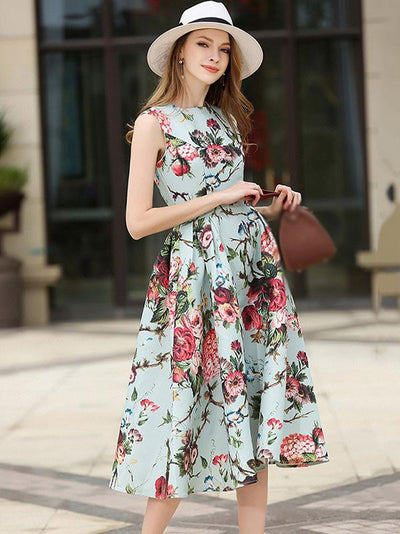 Stylish Summer Print Sleeveless O-neck Skater Casual Dresses