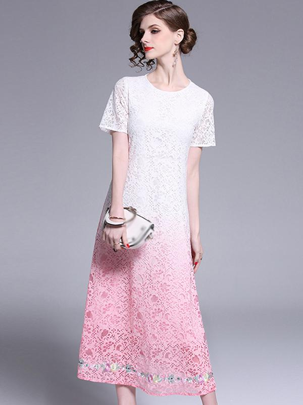 Elegant Lace Embroidery O-Neck Slim A-Line Casual Dresses