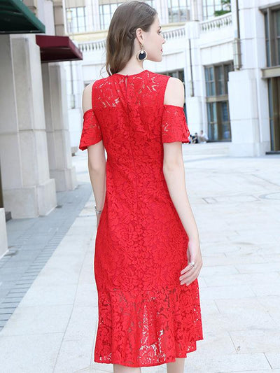 Stylish Lace Off-The-Shoulder Flowy and flatering Bodycon Casual Dresses