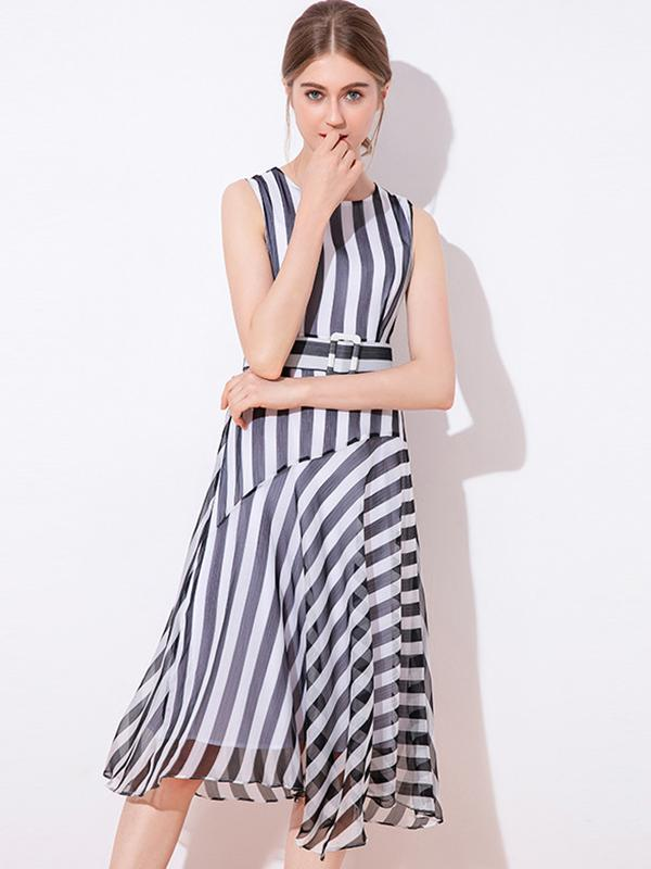 Brief Collect Waist Chiffon Stripe  Sleeveless Maxi Casual Dresses