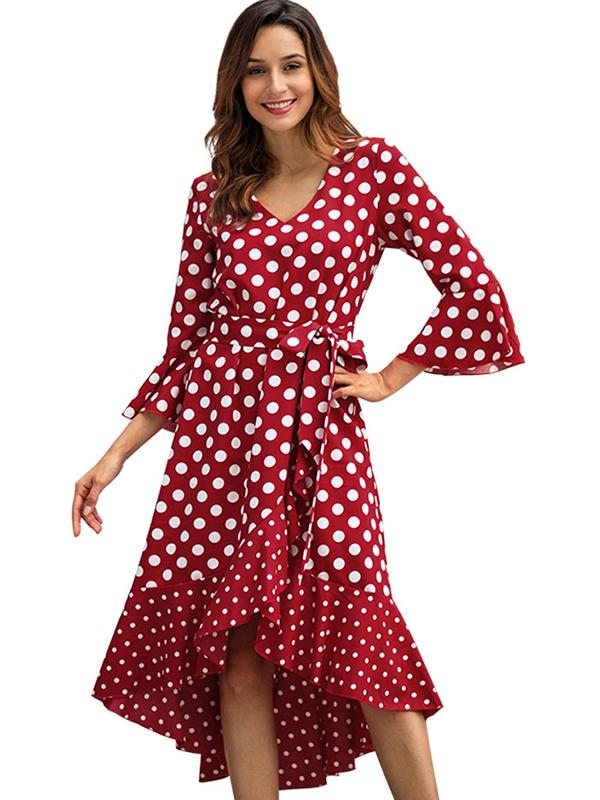 Street Polka Dot  Patchwork Long Sleeve Sashes A-Line Casual Dresses