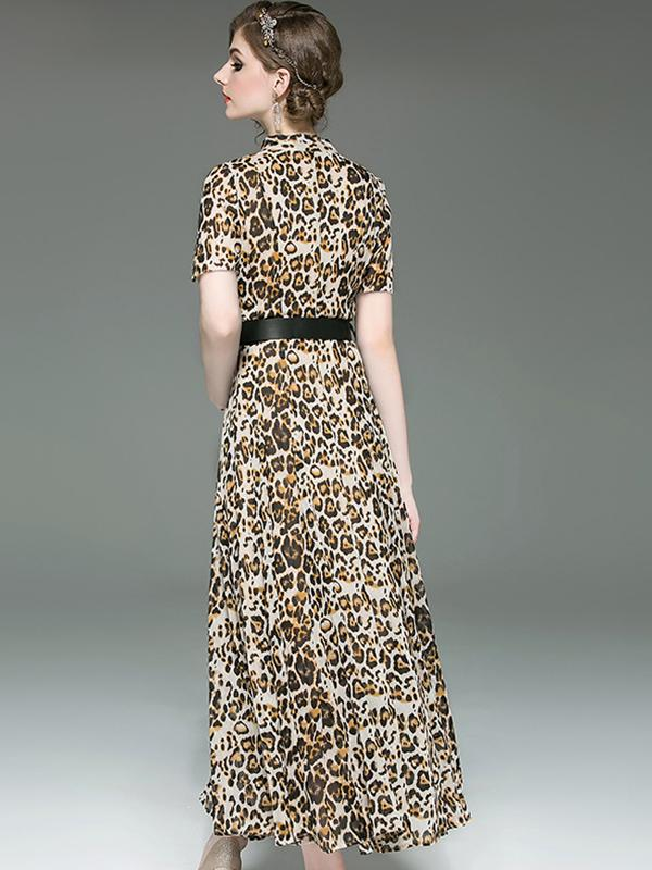 Party Leopard Print Stand Collar High Waist Big Hem Maxi Casual Dresses