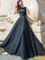 O-Neck Sleeveless Formal Slim Solid Color Big Hem Party Dresses
