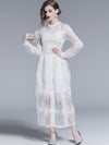 Exquisite Puff Sleeve Stereoscopic Embroidery Long Sleeve Maxi Casual Dresses