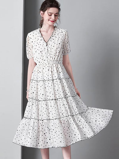 Lovely Polka Dot Ruffled Lotus Leaf Elastic Waist Skater Casual Dresses