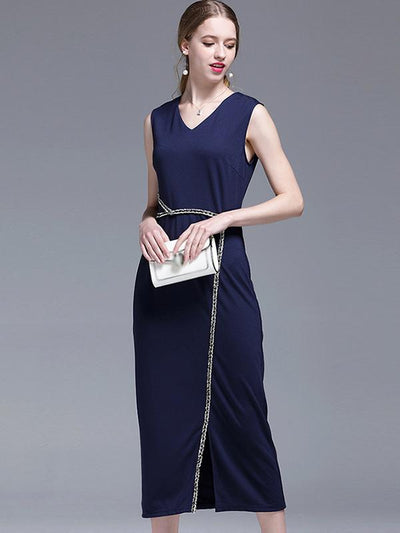 Sexy Front Fork Slim Waist Band Decorative V-Neck Bodycon Casual Dresses