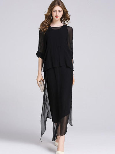 Work Vest Cape Two Pieces Irregular Solid Color Maxi Casual Dresses