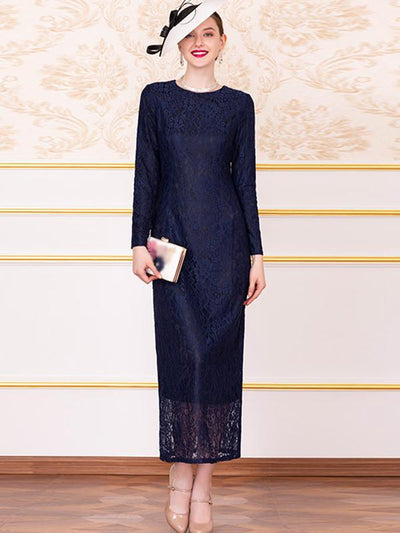 Vintage Lace Print Slim Long Sleeve O-Neck Maxi Party Dresses