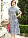Chic Lace Patchwork Stand Collar Gathered Waist Slim Maxi Casual Dresses