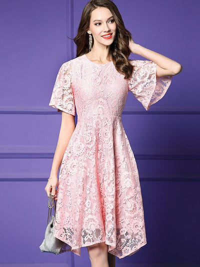 Sweet Ruffle Hollow Out Waist Fragrance Skater Casual Dresses