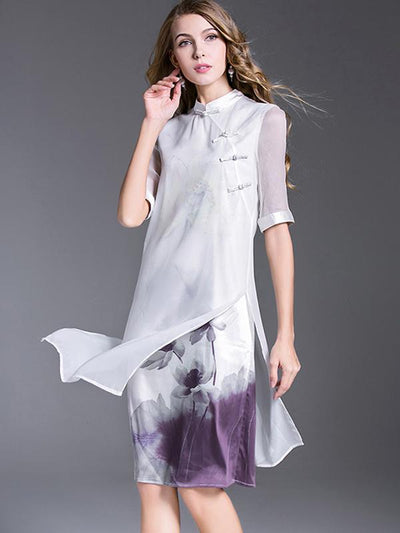 Chinoiserie Modified Cheongsam Irregular Silk  Casual Dresses