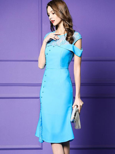 Elegant Embroidery Bead Strapless Fishtail Bodycon Party Dresses