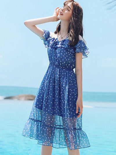 Lovely  Flounced Star Print Flowy and Flatering Skater Casual Dresses