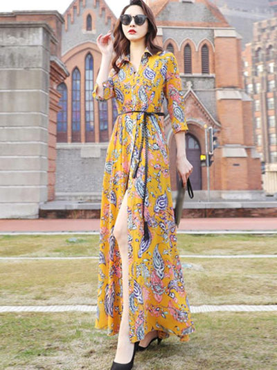 Elegant Sashes Turn-Down Collar Floral Print Maxi Casual Dresses