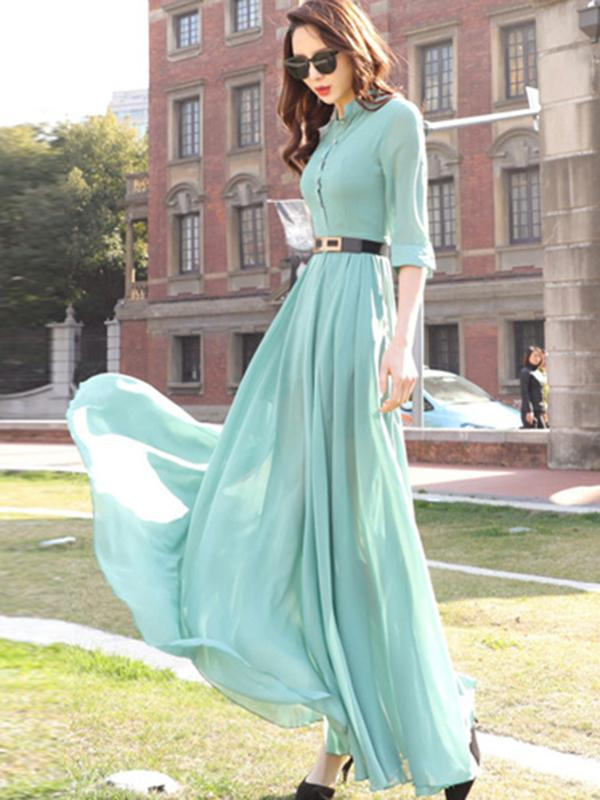 Elegant Single Breasted  3/4 Sleeve Sashes  Maxi Casual Dresses