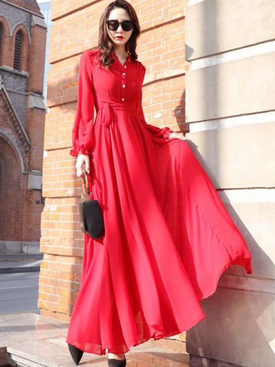 Casual Stand Collar Long Sleeve Big Hem Maxi Casual Dresses