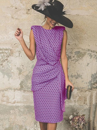Work Polka Dots Draped Cutout Casual Dresses