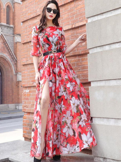 Holiday Sashes Asymmetric Vent Floral  Print Maxi Casual Dresses
