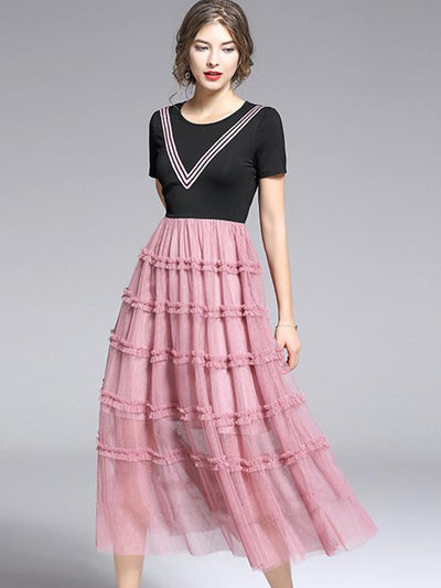 Elegant Screw Thread Stitching Tiered Skater Casual Dresses