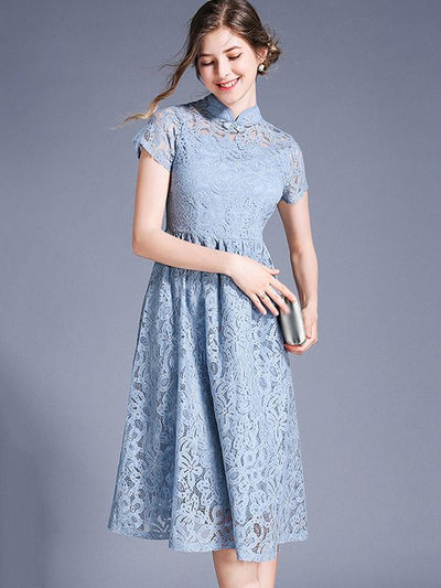 Delicate Stand Collar Solid Color Skater Casual Dresses