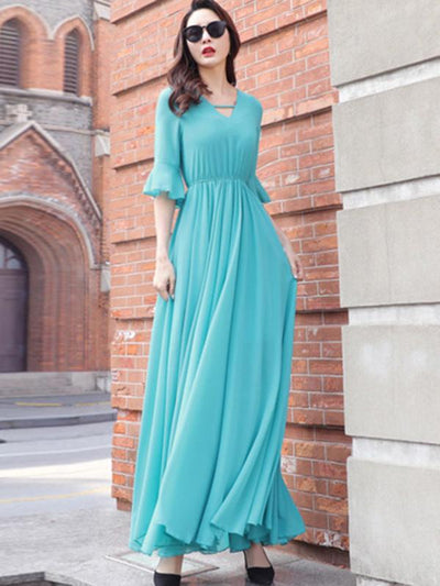 Simple V-Neck Elastic Waist Solid Color Maxi Casual Dresses