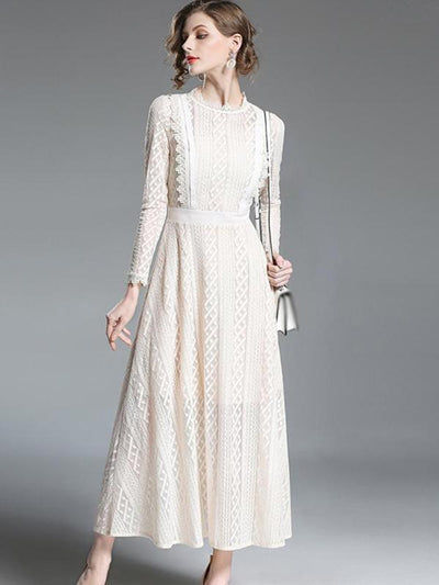 Elegant Embroidery Hollow Out Lace Big Hem Maxi Party Dresses