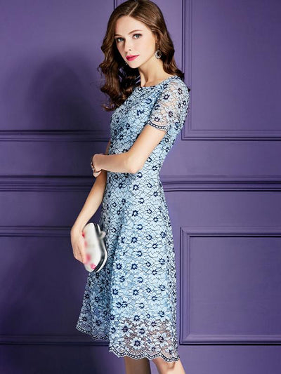 Elegant Floral Lace High Waist Fit  Flare Casual Dresses