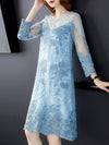 Elegant Embroidery Perspective Mesh Casual Dresses