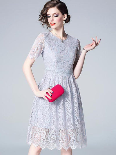 Simple Perspective Lace High Waist A-Line Casual Dresses
